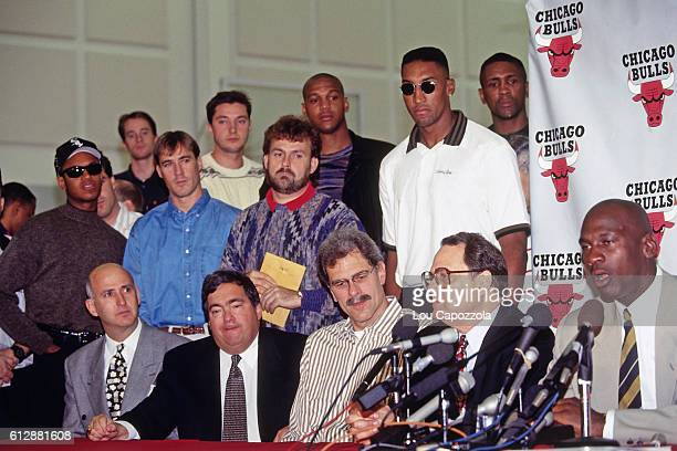 Michael Jordan of the Chicago Bulls speaks to the media during his Retirement Press Conference on October 6 1993 at the Chicago Bulls Practice...