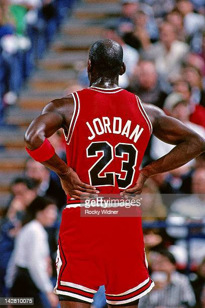 Michael Jordan of the Chicago Bulls stands against the Sacramento Kings during a game played on November 14 1989 at the Arco Arena in Sacramento...