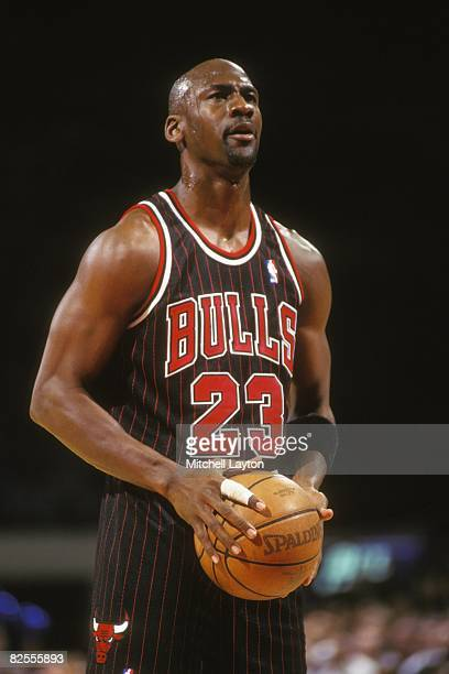 Michael Jordan of the Chicago Bulls takes a foul shot during a NBA basketball game against the Washington Bullets at USAir Arena on February 1 1996...