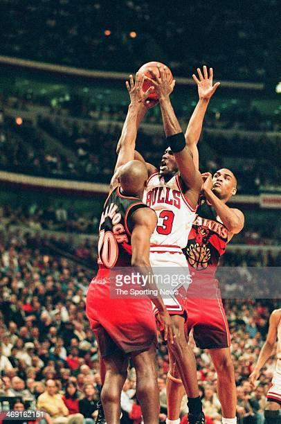Michael Jordan of the Chicago Bulls takes a jump shot during the game against the Atlanta Hawks on May 13, 1997 at The Omni Coliseum in Atlanta,...
