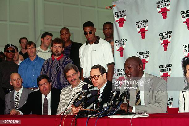Michael Jordan of the Chicago Bulls talks to the media during his retirement press conference on October 6 1993 at Chicago Stadium in Chicago...