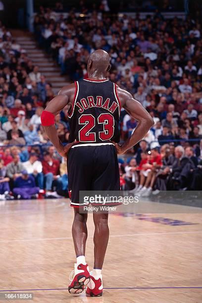 Michael Jordan of the Chicago Bulls walks against the Sacramento Kings on November 23 1997 at Arco Arena in Sacramento California NOTE TO USER User...