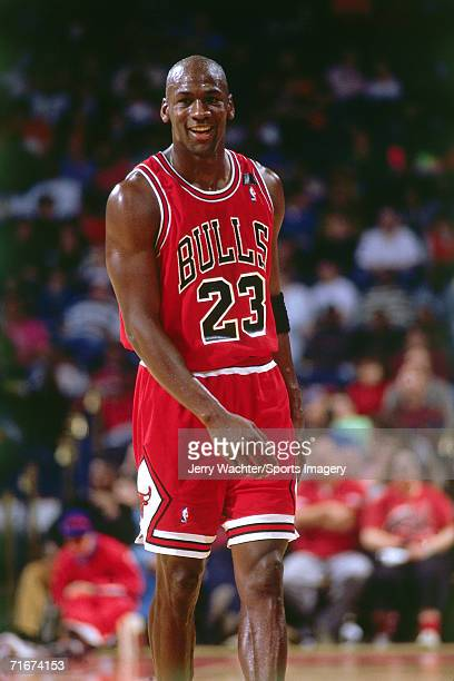 Michael Jordan of the Chicago Bulls walks on the court during a 1991 season game against the Washington Bullets at the Capital Centre in Landover...