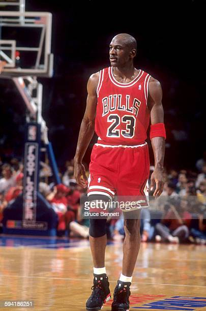 Michael Jordan of the Chicago Bulls walks on the court during a game in the 1991 Eastern Conference Semifinals against the Philadelphia 76ers in May...