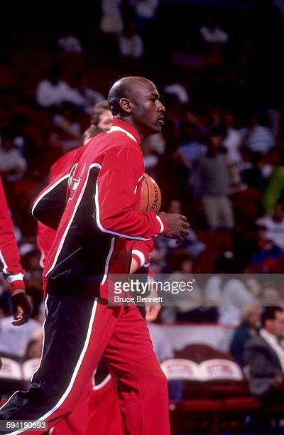 Michael Jordan of the Chicago Bulls warmsup before a game in the 1991 Eastern Conference Semifinals against the Philadelphia 76ers in May 1991 at the...
