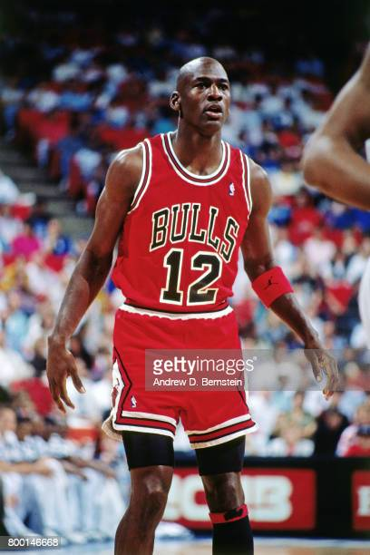 Michael Jordan of the Chicago Bulls wears jersey during the game at Orlando Arena in Orlando Florida NOTE TO USER User expressly acknowledges and...