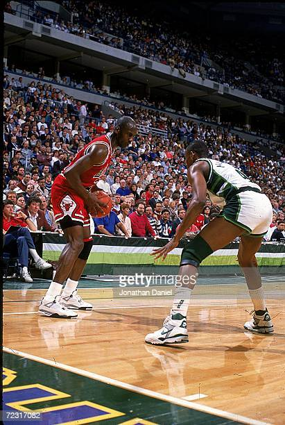 Michael Jordan of the Chicago Bulls with the ball during the game against the Milwaukee Bucks Mandatory Credit Jonathan Daniel /Allsport