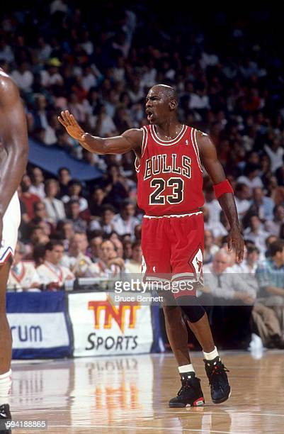 Michael Jordan of the Chicago Bulls yells out the play during a game in the 1991 Eastern Conference Semifinals against the Philadelphia 76ers in May...