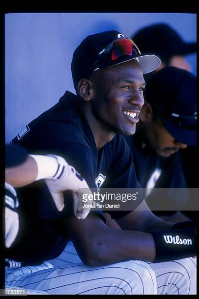 Michael Jordan of the Chicago White Sox looks on during spring training