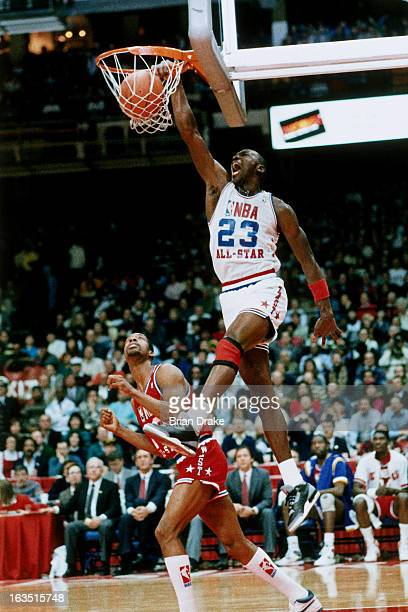 Michael Jordan of the East All Stars dunks during the 1992 NBA All Star game on February 12 1989 at the AstroDome in Houston Texas NOTE TO USER User...