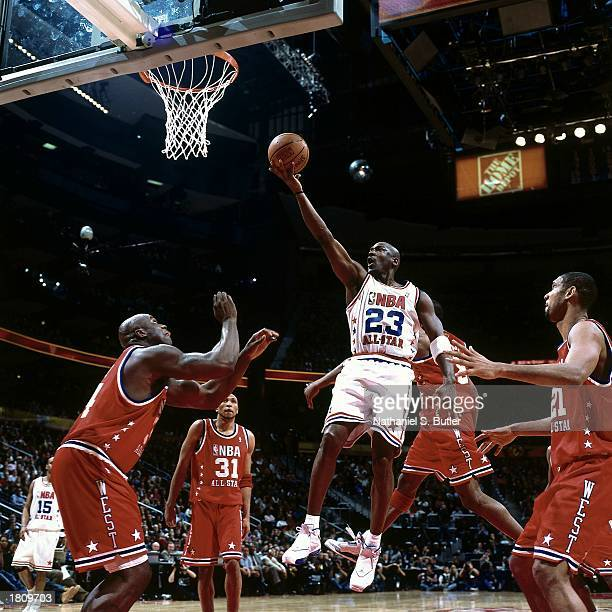Michael Jordan of the Eastern Conference AllStars goes for a layup against the Western Conference during the 52nd NBA AllStar Game at the Phillips...