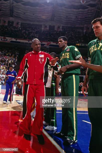 Michael Jordan of the Eastern Conference AllStars is introduced against the Western Conference AllStars during the 1991 NBA AllStar game on February...