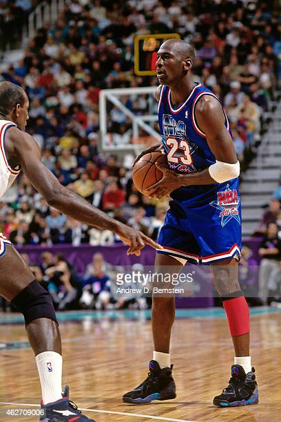 Michael Jordan of the Eastern Conference AllStars looks to pass against the Western Conference AllStars during the 1993 AllStar Game on February 21...