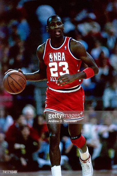 Michael Jordan of the Eastern Conference AllStars moves the ball up court against the Western Conference AllStars during the 1987 NBA AllStar Game...