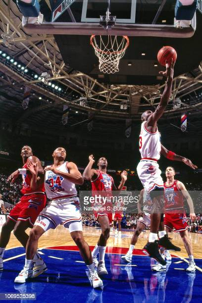 Michael Jordan of the Eastern Conference AllStars shoots against the Western Conference AllStars during the 1991 NBA AllStar game on February 10 1991...