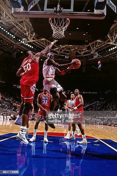Michael Jordan of the Eastern Conference AllStars shoots the ball during the 1991 All Star Game on February 10 1991 at the Charlotte Coliseum in...