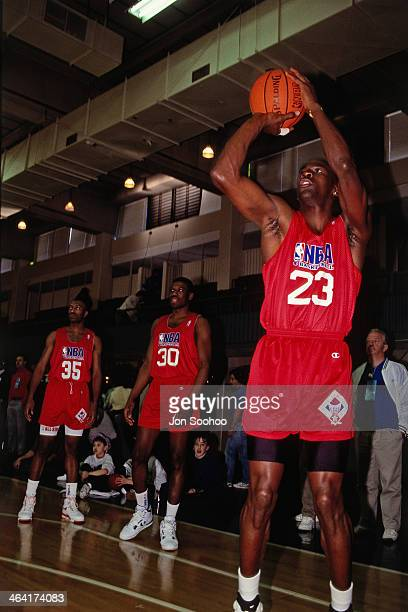 Michael Jordan of the Eastern Conference AllStars shoots the ball during NBA AllStar Practice as part of the 1991 All Star Weekend on February 9 1991...