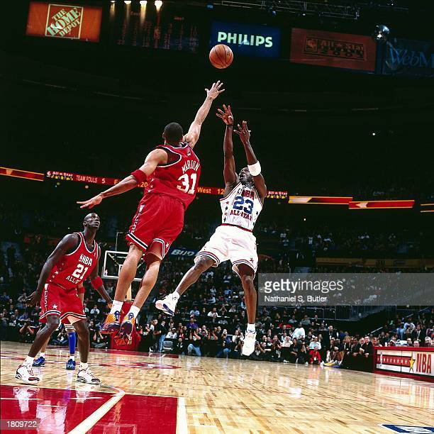 Michael Jordan of the Eastern Conference AllStars takes a jumper during the 52nd NBA AllStar Game against the Western Conference at the Phillips...