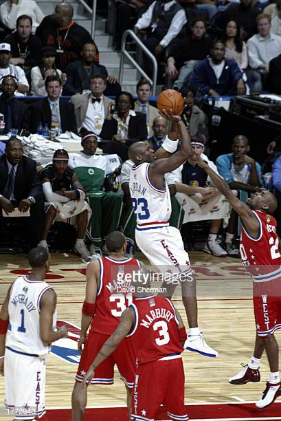 Michael Jordan of the Eastern Conference drives to the basket during the 52nd NBA All Star Game on February 9 2003 at Philips Arena in Atlanta...