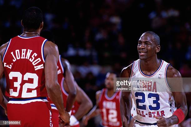 Michael Jordan of the Eastern Conference looks on during the 1988 NBA AllStar Game on February 7 1988 at the Chicago Stadium in Chicago Illinois NOTE...