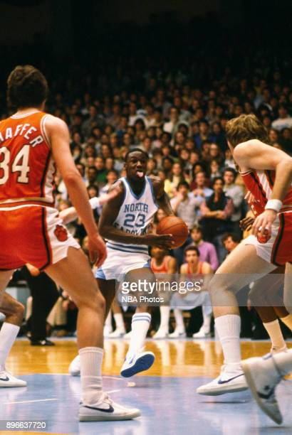 Michael Jordan of the North Carolina Tar Heels drives against the Clemson Tigers circa 1983 in Chapel Hill North Carolina NOTE TO USER User expressly...