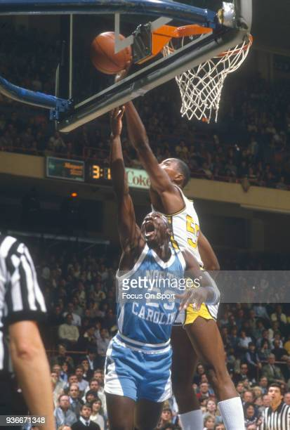 Michael Jordan of the North Carolina Tar Heels goes in for a layup against the Wake Forest Demon Deacons during an NCAA basketball game February 17...
