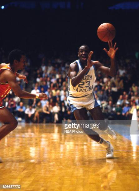 Michael Jordan of the North Carolina Tar Heels receives the pass against the Clemson Tigers circa 1983 in Chapel Hill North Carolina NOTE TO USER...