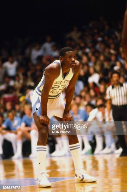 Michael Jordan of the North Carolina Tar Heels rests against the Clemson Tigers circa 1983 in Chapel Hill, North Carolina. NOTE TO USER: User...