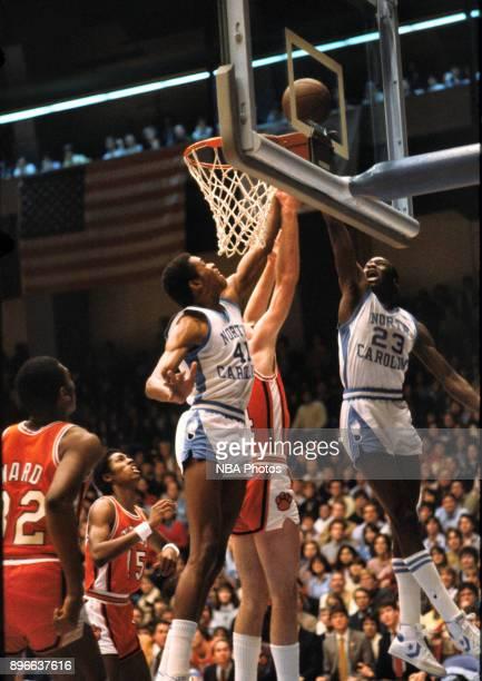 Michael Jordan of the North Carolina Tar Heels shoots against the Clemson Tigers circa 1983 in Chapel Hill, North Carolina. NOTE TO USER: User...