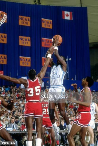 Michael Jordan of the North Carolina Tar Heels shoots against the Georgia Bulldogs during an NCAA basketball game February 14 1982 at the Greensboro...