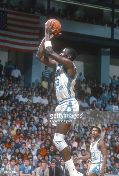 Michael Jordan of the North Carolina Tar Heels shoots the ball during an NCAA basketball game circa 1982 at the Greensboro Coliseum in Greensboro...