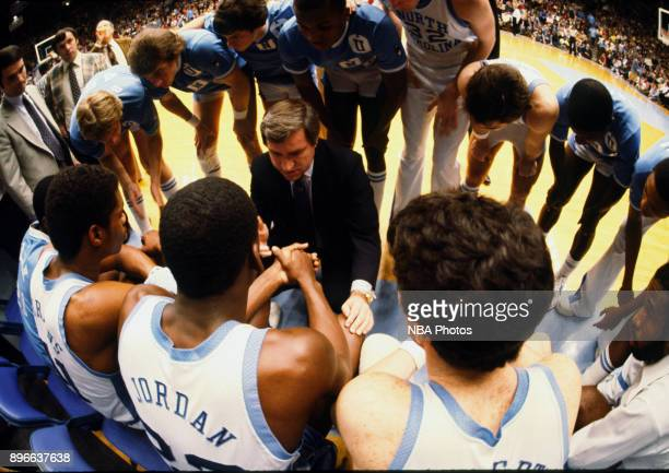 Michael Jordan of the North Carolina Tar Heels sits in the huddle against the Clemson Tigers circa 1983 in Chapel Hill North Carolina NOTE TO USER...