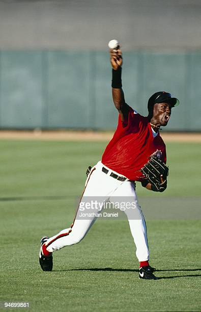 Michael Jordan of the Scottsdale Scorpions fields the ball during a Arizona Fall League game on October 26, 1994.