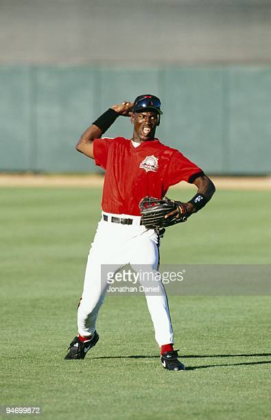 Michael Jordan of the Scottsdale Scorpions fields the ball during a Arizona Fall League game on October 26 1994