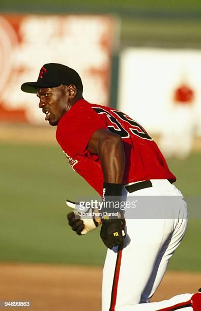 Michael Jordan of the Scottsdale Scorpions runs during a Arizona Fall League game on October 26, 1994.