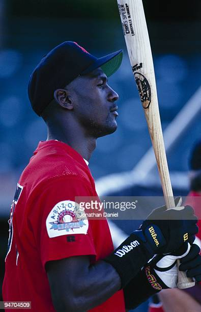 Michael Jordan of the Scottsdale Scorpions takes batting practice before an Arizona Fall League game at Scottsdale Stadium on October 26 1994 in...