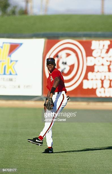 Michael Jordan of the Scottsdale Scorpions warms up before an Arizona Fall League game at Scottsdale Stadium on October 26, 1994 in Scottsdale,...