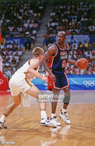 Michael Jordan of the United States dribbles during the 1992 Summer Olympics in Barcelona Spain NOTE TO USER User expressly acknowledges and agrees...