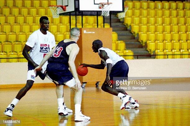 Michael Jordan of the United States National Team dribbles during a practice in June 1992 in La Jolla California NOTE TO USER User expressly...
