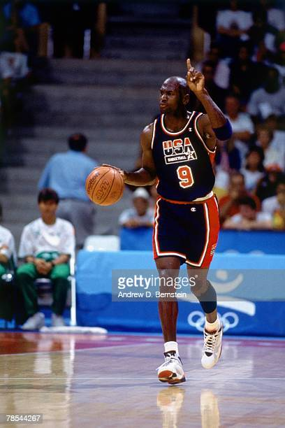Michael Jordan of the United States National Team dribbles upcourt during the 1992 Olympics in Barcelona Spain NOTE TO USER User expressly...