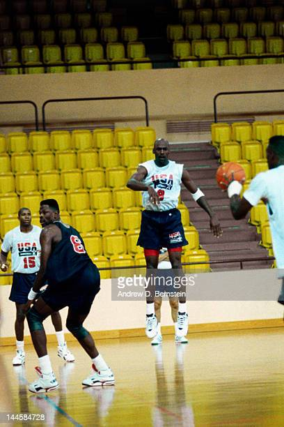 Michael Jordan of the United States National Team passes during a practice in June 1992 in La Jolla California NOTE TO USER User expressly...