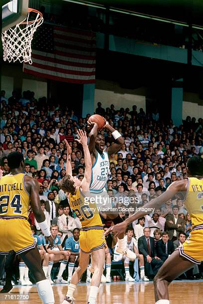 Michael Jordan of the University of North Carolina during a game in February 1984