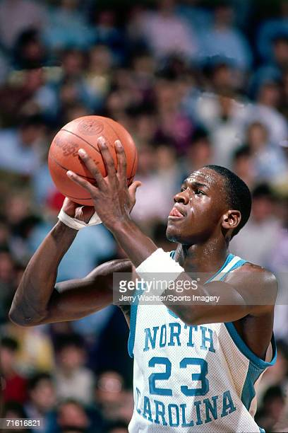 Michael Jordan of the University of North Carolina Tar Heels shoots a free throw during a game at the Carmichael Auditoriumin circa February 1984 in...
