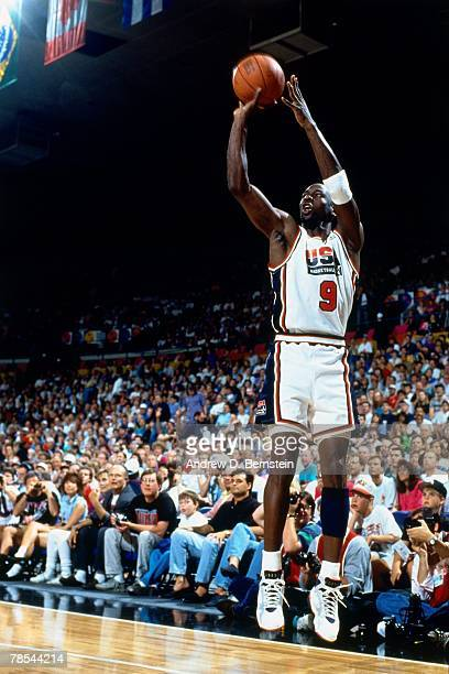 Michael Jordan of the US Men's Senior National Team shoots a jump shot during the 1992 Basketball Tournament of Americas on July 3 1992 in Portland...