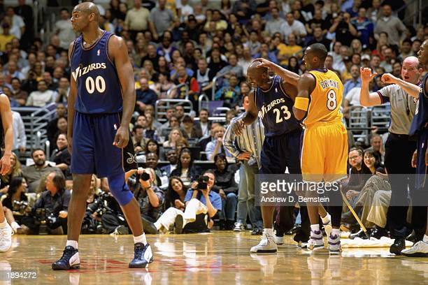 Michael Jordan of the Washington Wizards has a moment with Kobe Bryant of the Los Angeles Lakers during the game at Staples Center on March 28 2003...