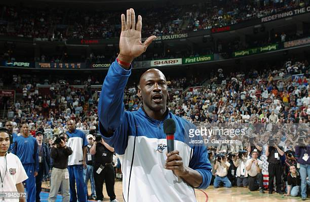 Michael Jordan of the Washington Wizards says goodby to the fans before the last game of his career, which happened to be against the Philadelphia...