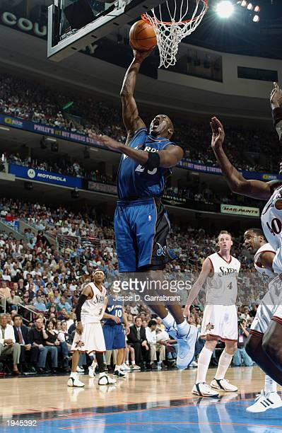 Michael Jordan of the Washington Wizards shoots a layup against the Philadelphia 76ers during the game at First Union Center on April 16 2003 in...