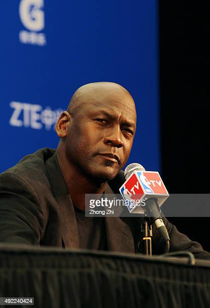 Michael Jordan, Owner of Charlotte Hornets speaks to media during the press conference before the match between Charlotte Hornets and Los Angeles...