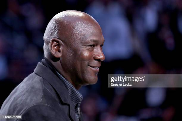 Michael Jordan owner of the Charlotte Hornets takes part in a ceremony honoring the 2020 NBA AllStar game during a break in play as Team LeBron take...