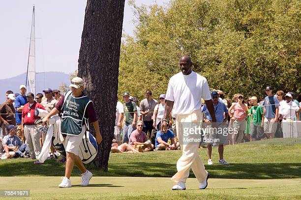 Michael Jordan plays in the American Century Championship Golf Tournament at the Edgewood Tahoe Golf Course in Lake Tahoe Nevada on July 15 2007